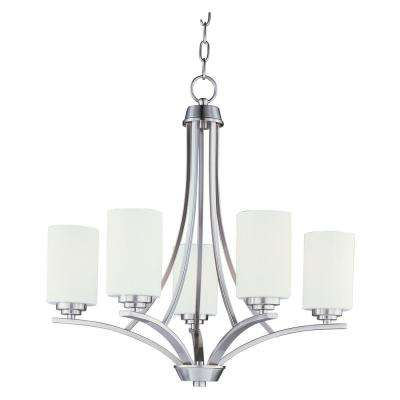 Deven 5-Light Satin Nickel Chandelier with White Shade