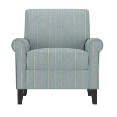 Jean Turquoise and Tan Stripe Upholstered Rolled Arm Chair