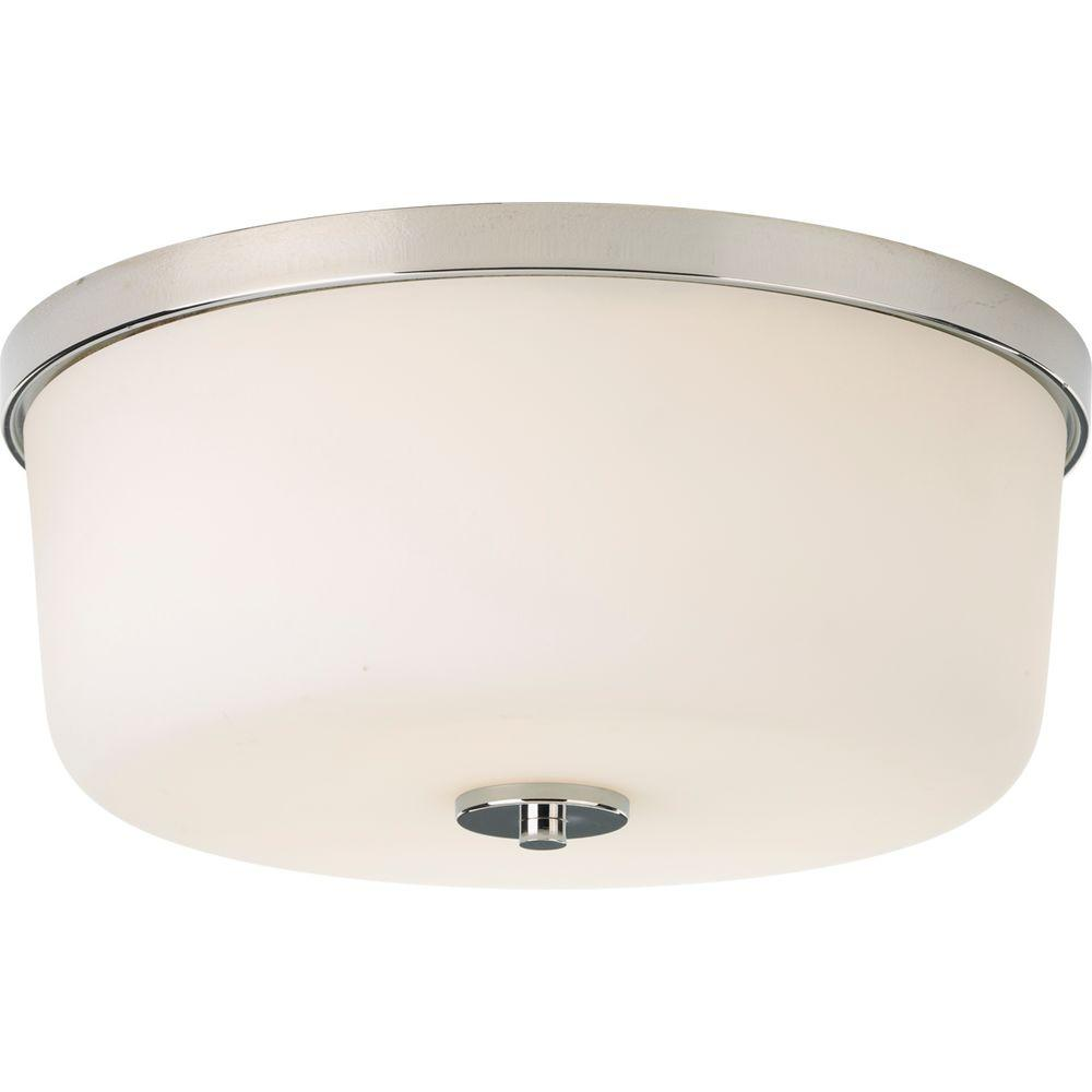 2-Light Polished Nickel Flushmount with Etched White Glass