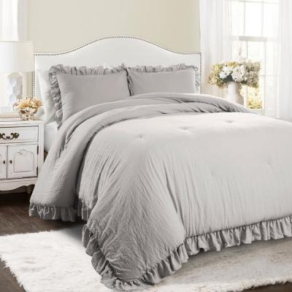 Reyna Comforter Light Gray 3-Piece Full/Queen Set