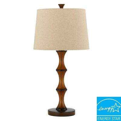28 in. Brown Resin Bamboo Table Lamp