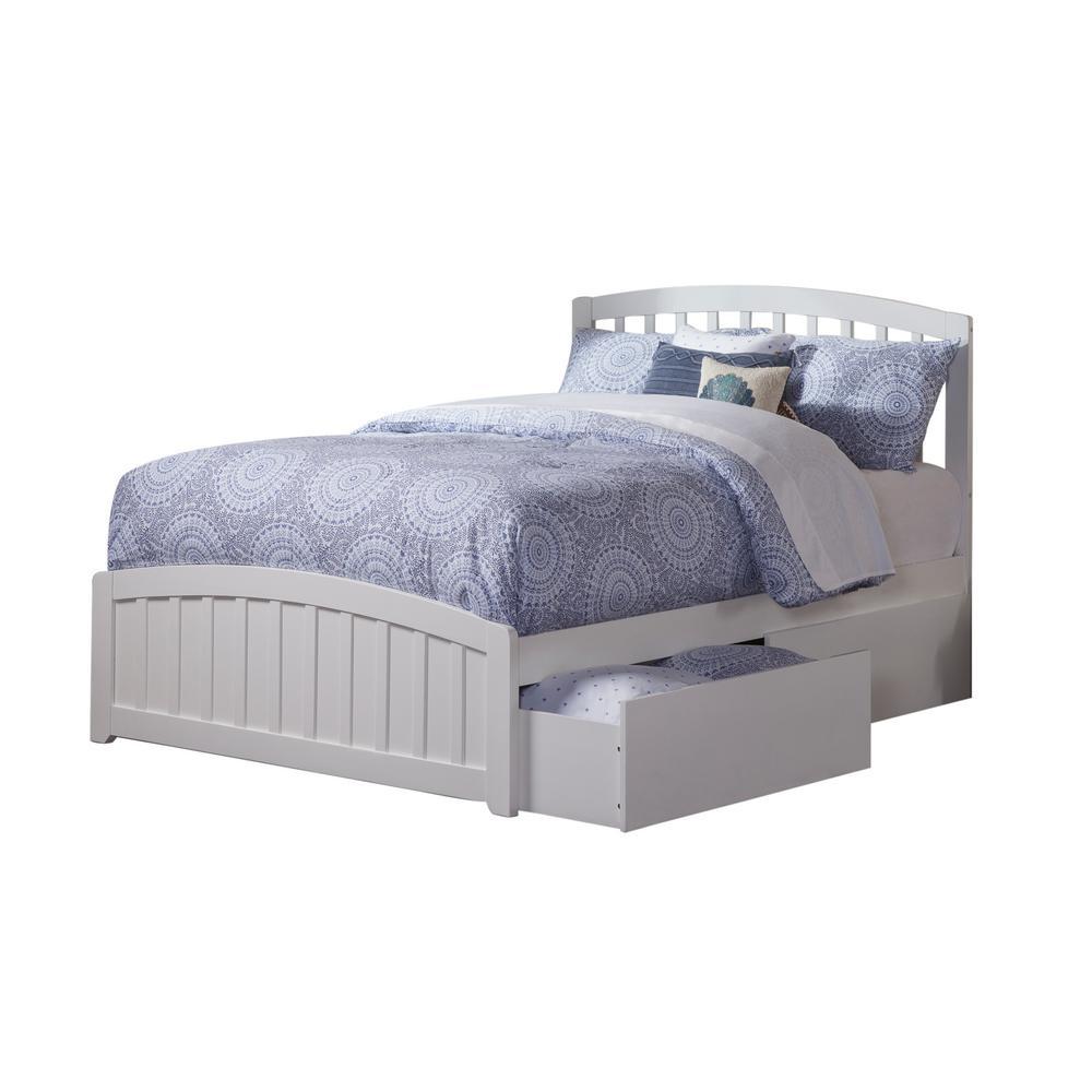 Atlantic Furniture Richmond White Full Platform Bed with Matching ...