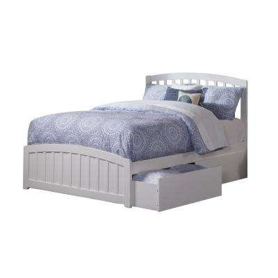 Richmond White Full Platform Bed with Matching Foot Board with 2-Urban Bed Drawers