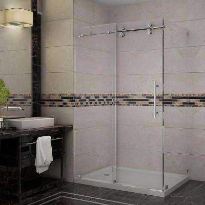 Langham 48 in. x 35 in. x 77-1/2 in. Completely Frameless Shower Enclosure in Stainless Steel with Left Base