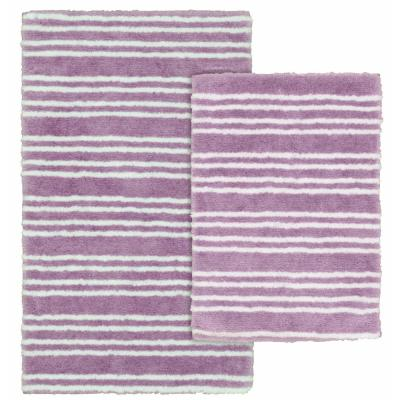 Baha Mar Purple/White 21 in. x 34 in. Striped Nylon Polyester 2-Piece Bath Mat Set