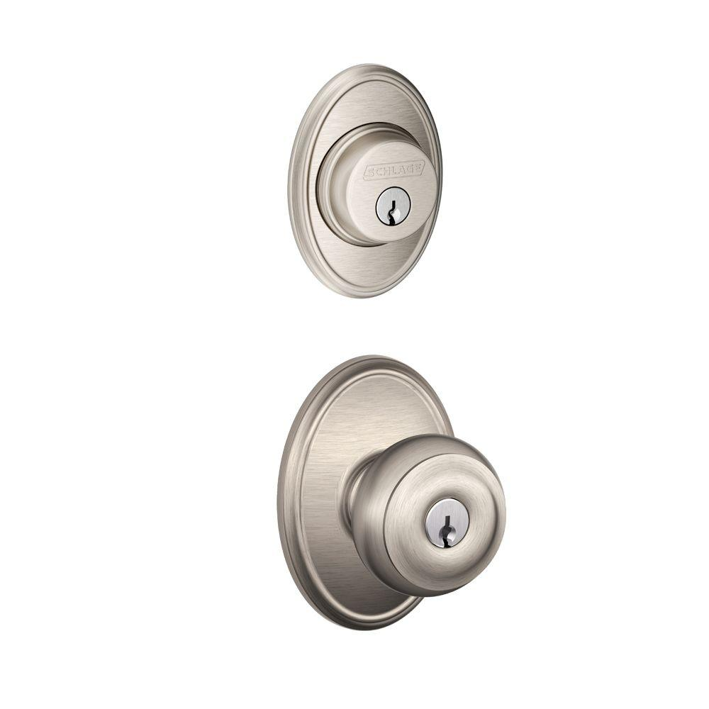 Schlage Wakefield Satin Nickel Single Cylinder Deadbolt with Georgian Entry Door Knob Combo Pack