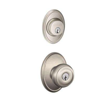 Wakefield Satin Nickel Single Cylinder Deadbolt with Georgian Entry Door Knob Combo Pack