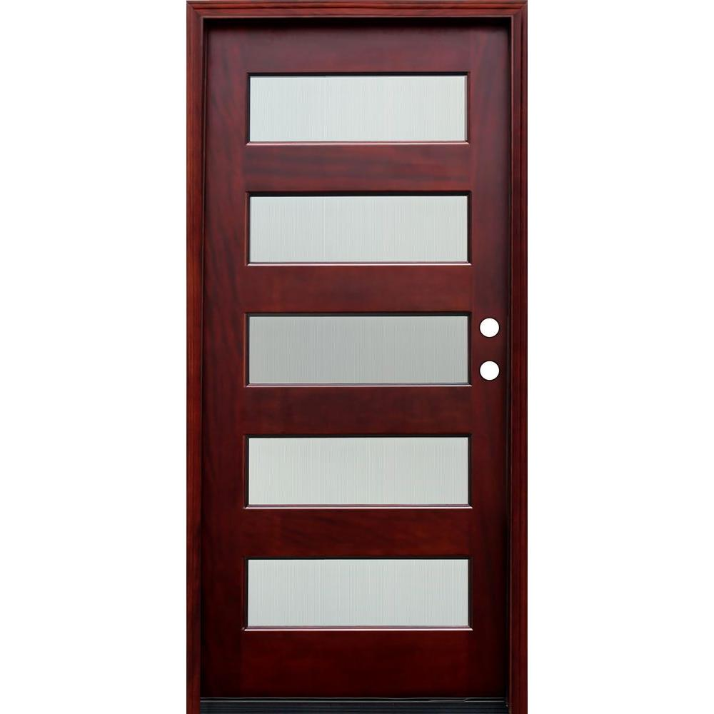 Pacific Entries 36 in. x 80 in. Contemporary 5 Lite Reed Stained Mahogany Wood Prehung Front Door