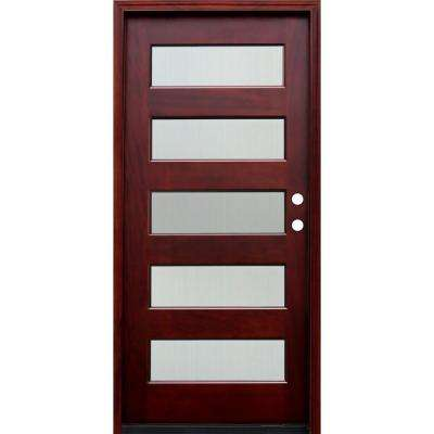 36 In. X 80 In. Contemporary 5 Lite Reed Stained Mahogany Wood Prehung Front