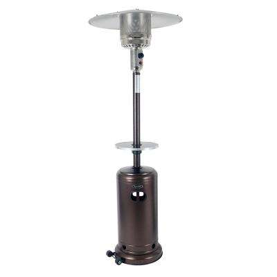 Deluxe 41,000 BTU Hammered Bronze Gas Patio Heater with Bronze Table