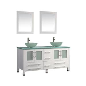 MTD Vanities Cuba 71 inch W x 20.5 inch D x 36 inch H Vanity in White with Glass Vanity Top in Aqua with Green... by MTD Vanities