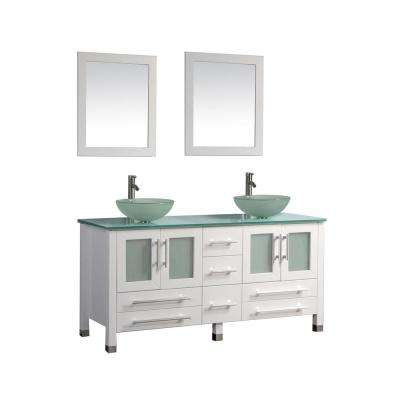 Cuba 71 in. W x 20.5 in. D x 36 in. H Vanity in White with Glass Vanity Top in Aqua with Green Basins and Mirrors