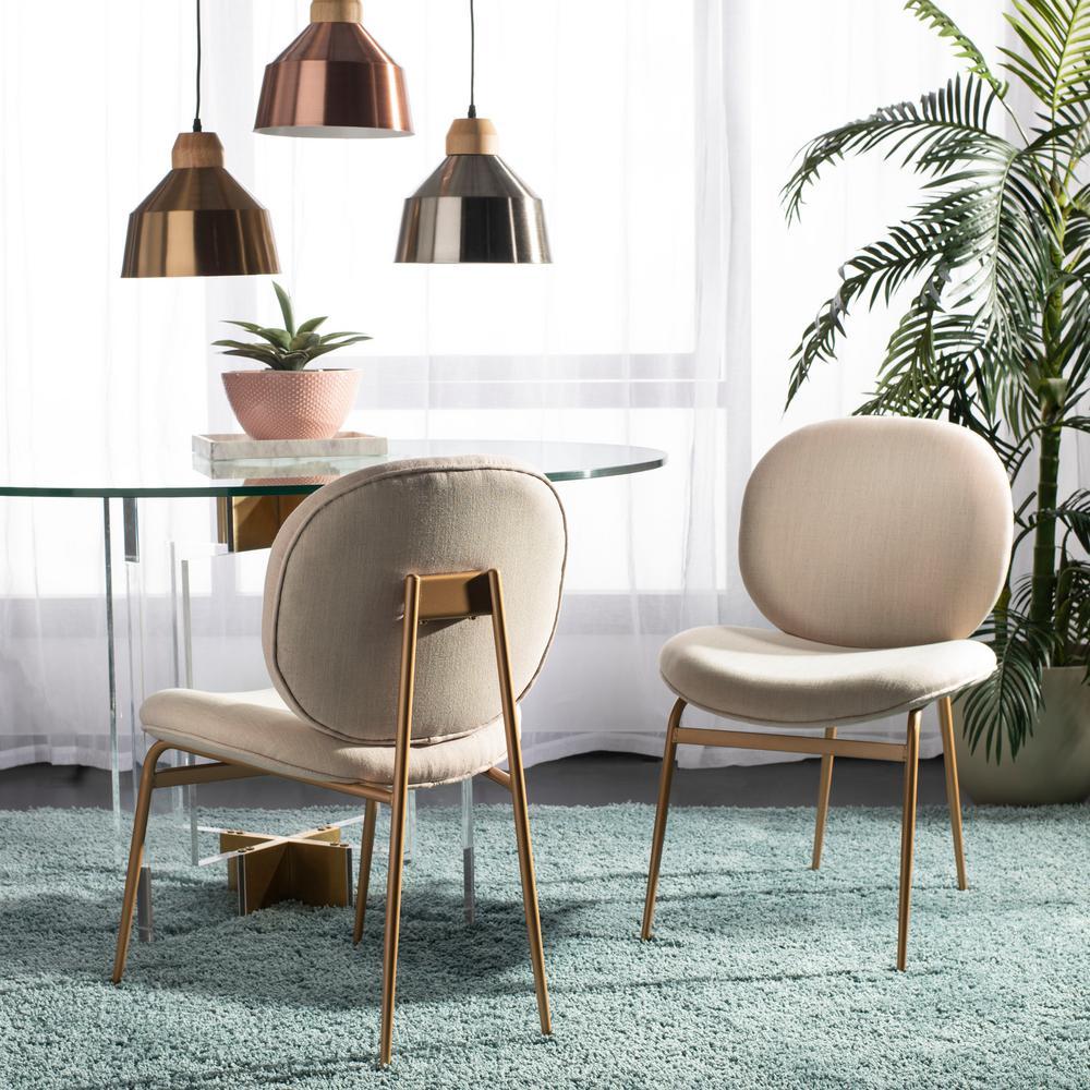 Jordana Beige/Gold Linen Side Chair (Set of 2)