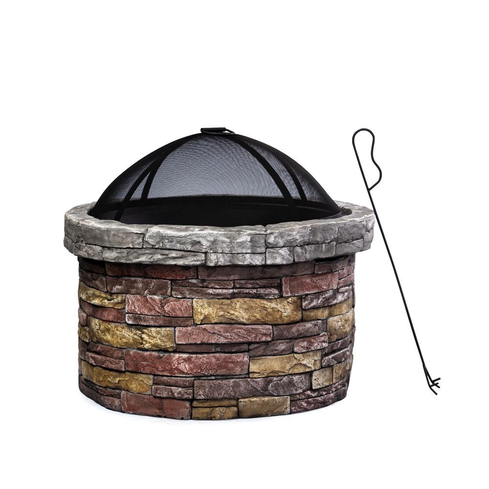 27 in. W x 23 in. H Round MGO Wood Burning Fire pit in Stacked Stone Finish with Cover and Fire Poker