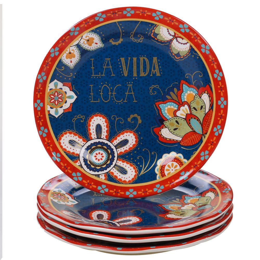 Certified International La Vida 4-Piece Multi-Colored 11.25 in. Dinner Plate Set