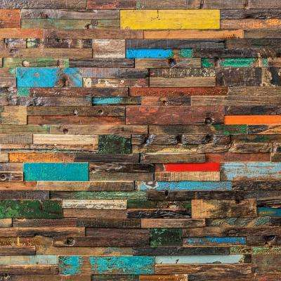 Timber Multi-Color 11.81 in. x 23.62 in. x 10mm Wood Mosaic Wall Tile (1.93 sq. ft.)