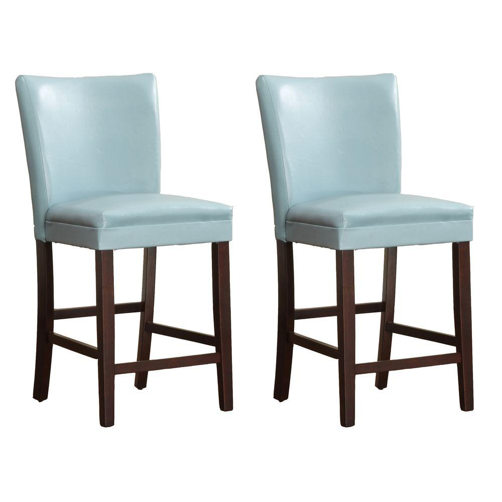 HomeSullivan 24 in. Light Blue Counter Chair (Set of 2)-DISCONTINUED