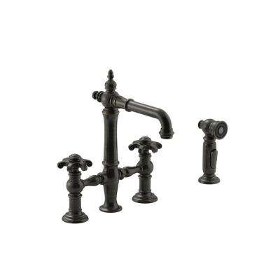 Artifacts 2-Handle Bridge Kitchen Faucet with Prong Handles in Oil-Rubbed Bronze