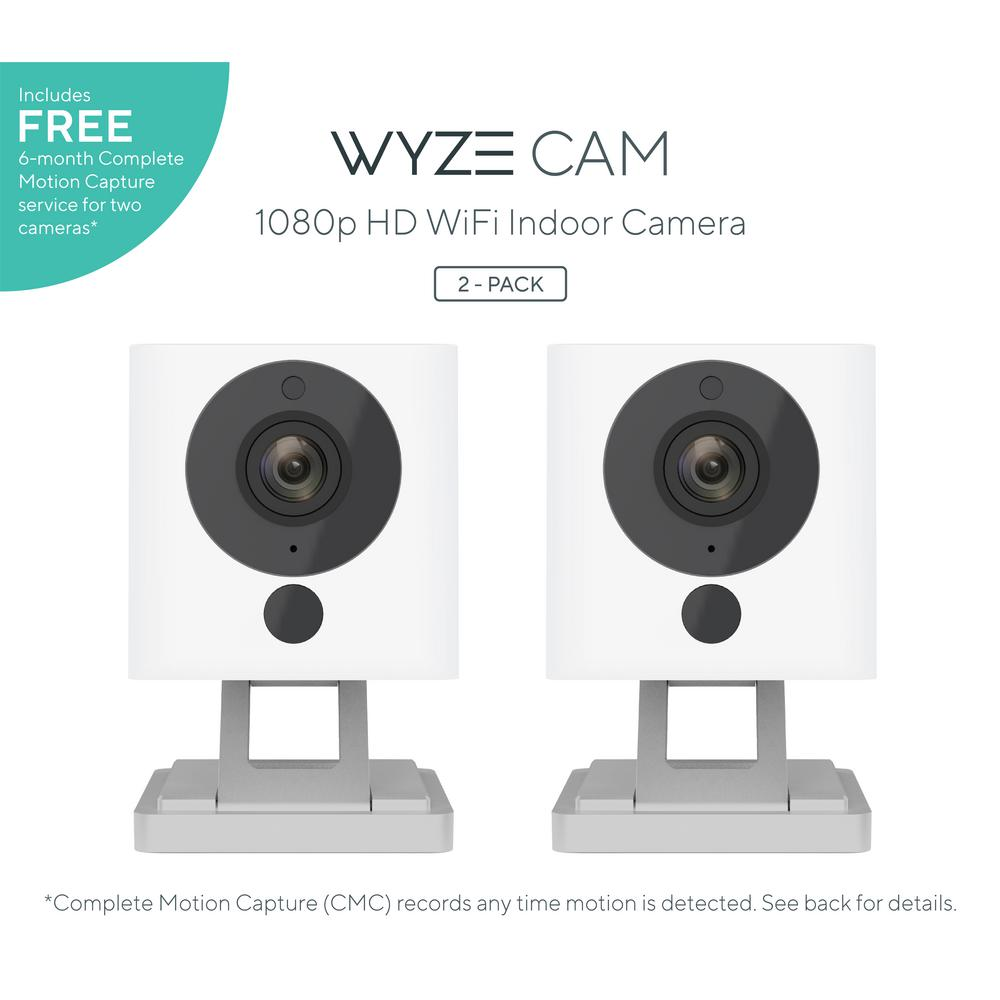 1080p WyzeCam HD Wi-Fi Indoor Smart Home Camera Night Vision 2-Way Mic Alexa and Google 14-Day Cloud Drive CMC Service, White