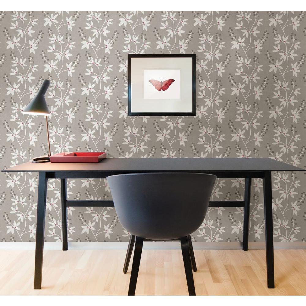 Beacon House Currant Grey Botanical Trail Wallpaper