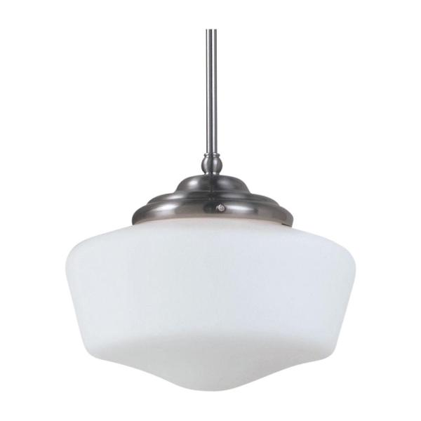 Academy Large 13 in. W. x 10.75 in H. 1-Light Brushed Nickel Pendant with Satin White Glass Shade and Dimmable LED Bulb