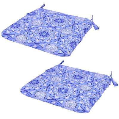 Periwinkle Medallion Outdoor Seat Cushion (2-Pack)