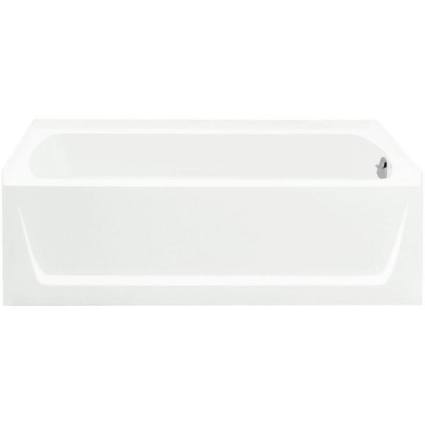 Ensemble 5 ft. Alcove Rectangular Right Drain Bathtub in White