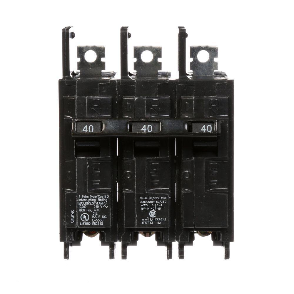 Siemens 40 Amp Triple-Pole Type BQ 10 kA Lug-In/Lug-Out Circuit Breaker by Siemens