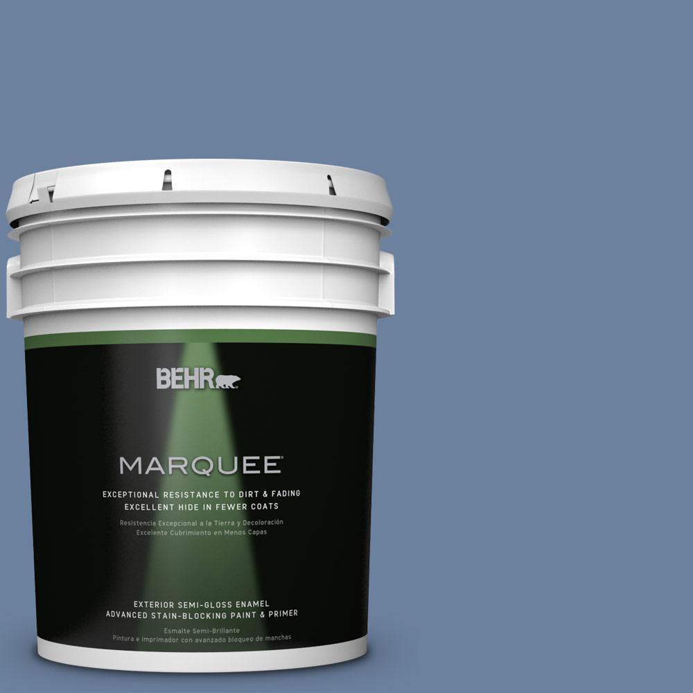 BEHR MARQUEE 5-gal. #S530-5 Brisk Blue Semi-Gloss Enamel Exterior Paint