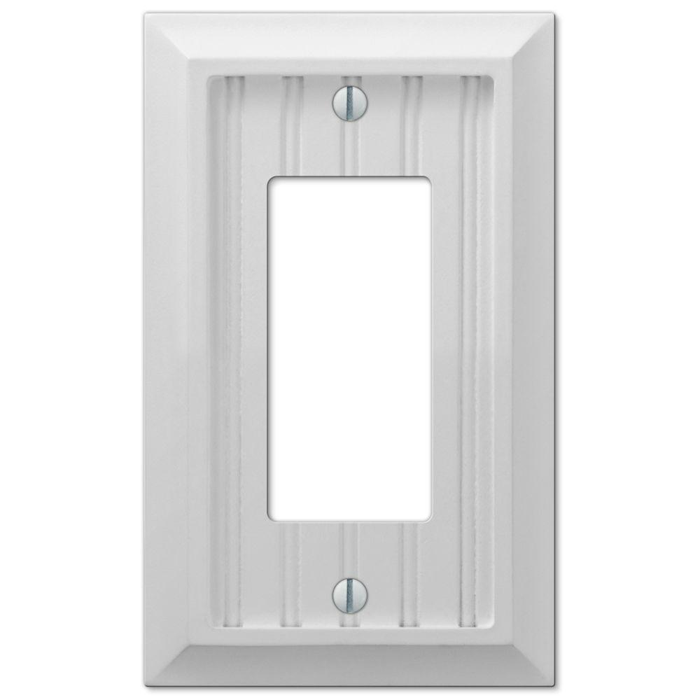 Hampton Bay Cottage 1 Gang Decora Wall Plate White Composite Wood