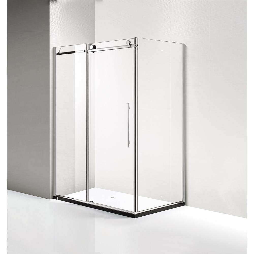 Dreamwerks 60 in. x 79 in. x 40 in. Luxury Frameless Sliding Shower Door Kit in Stainless Steel