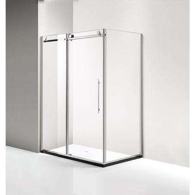 60 in. x 79 in. x 40 in. Luxury Frameless Sliding Shower Door Kit in Stainless Steel