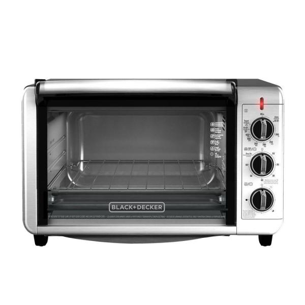 BLACK+DECKER 1500 W 6-Slice Black and Silver Convection Toaster Oven TO3230SBD