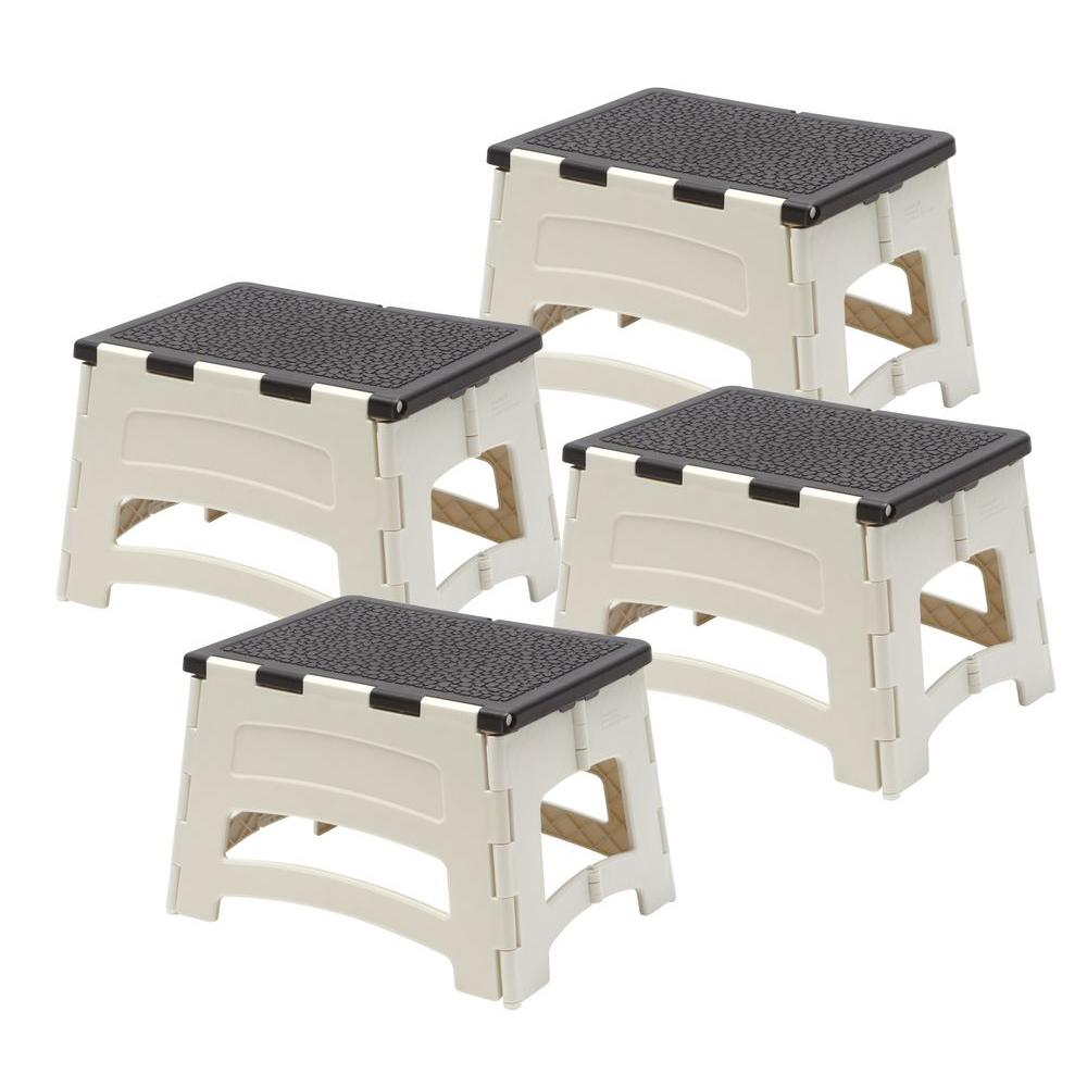 Gorilla Ladders 1-Step Plastic Folding Stool with 300 lb. Load Capacity (4-Pack)