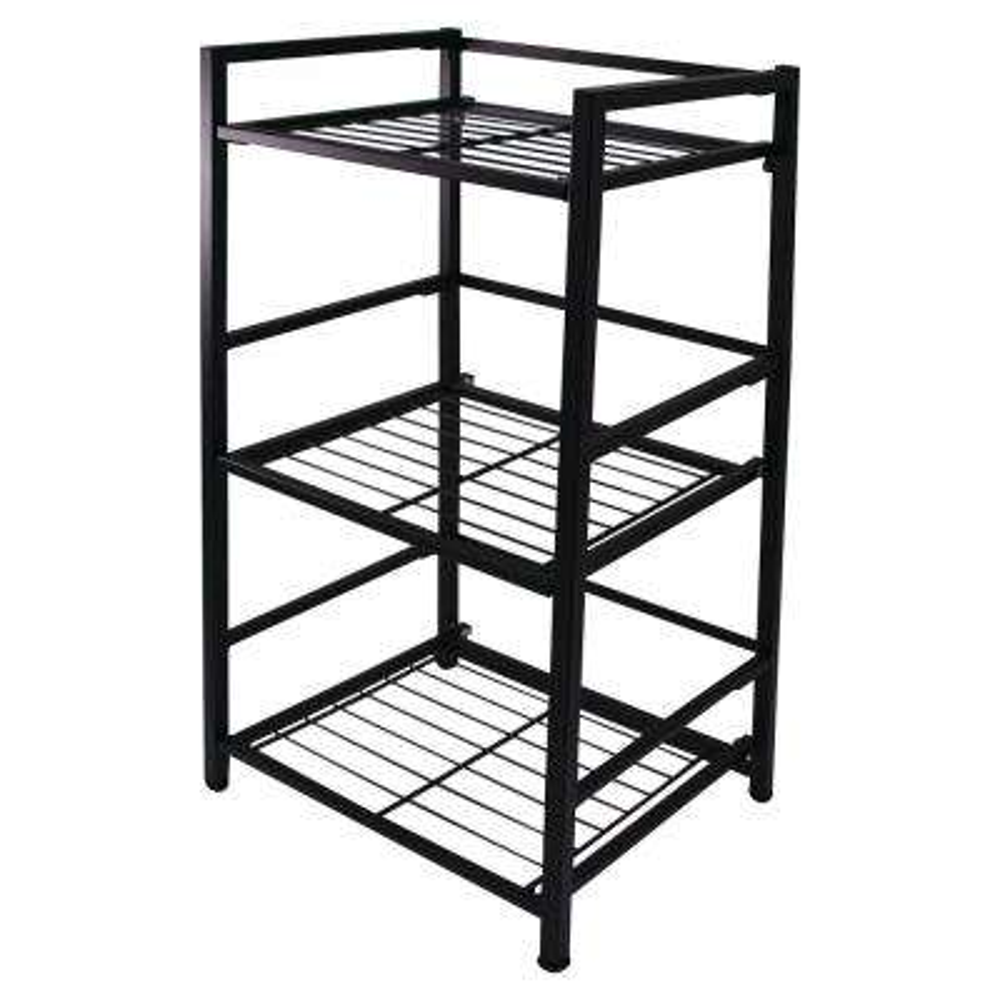 30.5 in. H x 14.5 in. W x 12 in. D 3-Shelf Narrow Steel Decorative Shelf Unit in Black