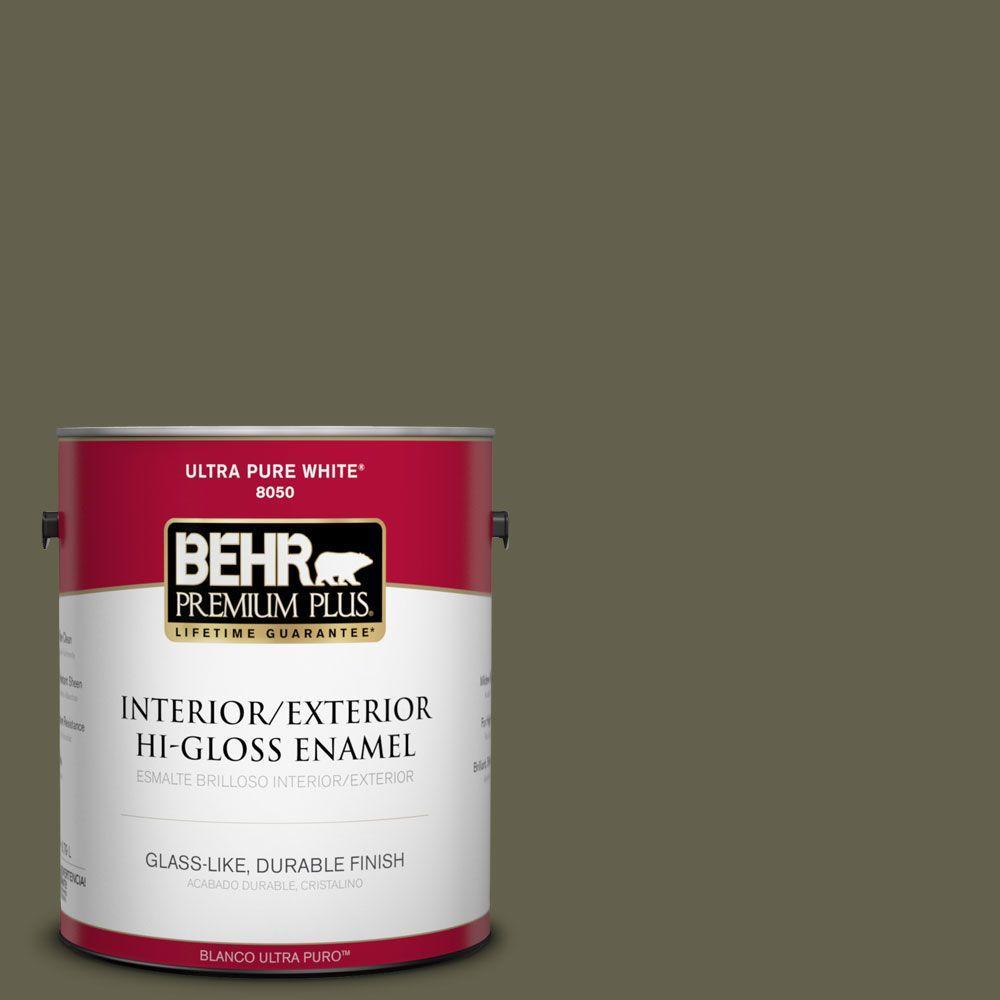 BEHR Premium Plus 1-gal. #400F-7 Groundcover Hi-Gloss Enamel Interior/Exterior Paint