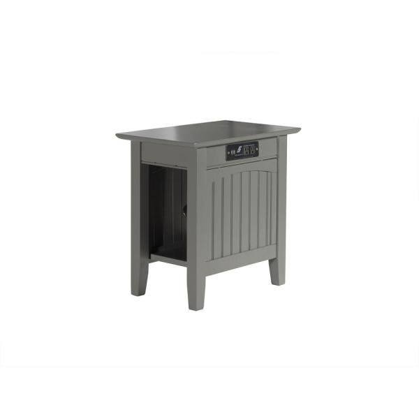Atlantic Furniture Nantucket Grey Chair Side Table With Charger Ah13319 The Home Depot
