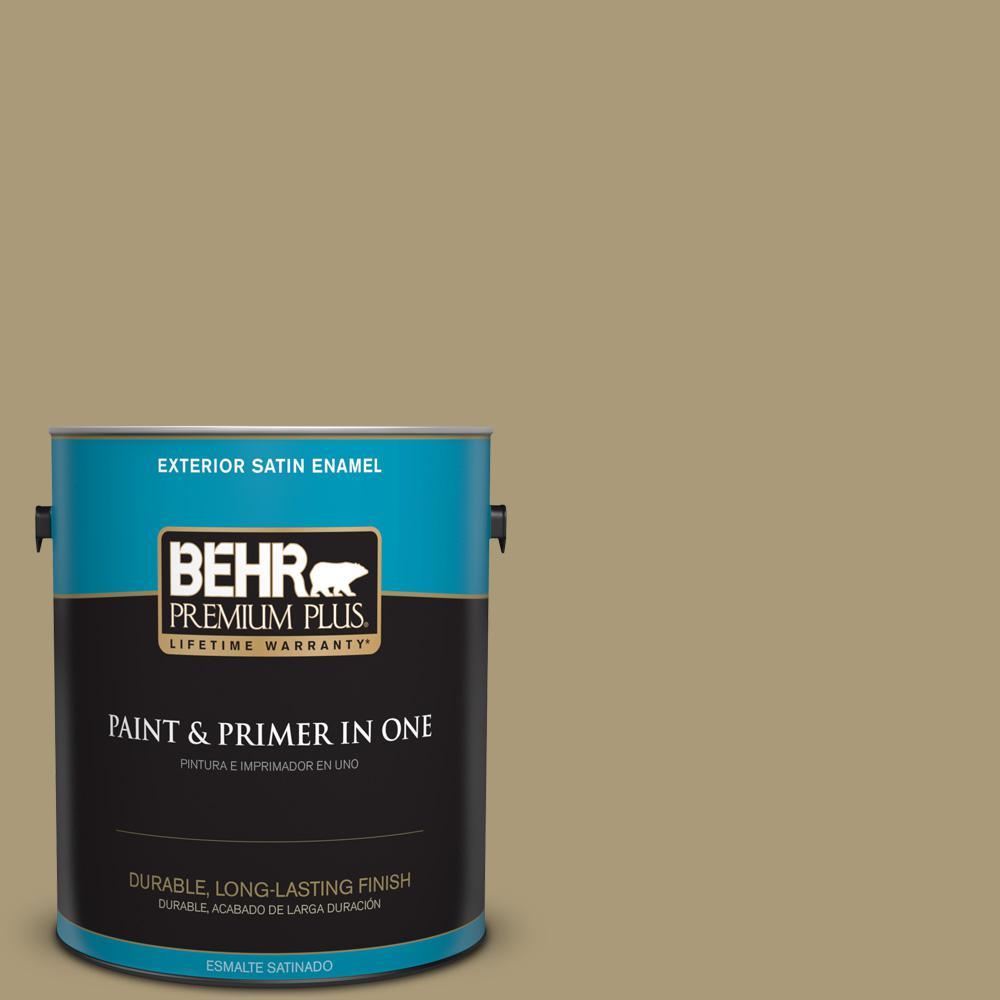 1 gal. #PPU8-06 Exploring Khaki Satin Enamel Exterior Paint