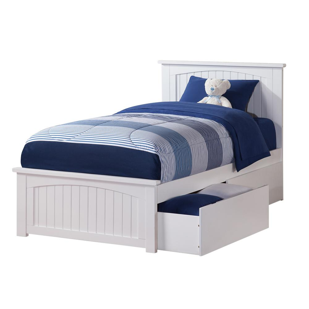 Nantucket White Twin Xl Platform Bed With Matching Foot Board And 2 Urban Drawers By Atlantic Furniture