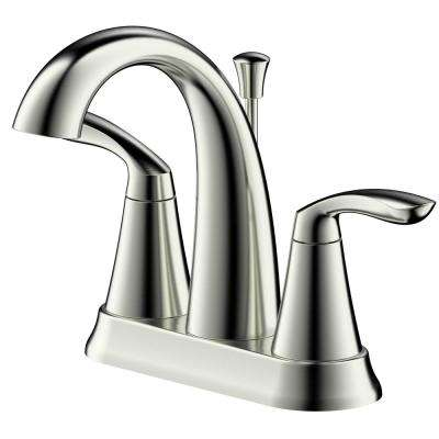 Arts et Metiers 4 in. Centerset 2-Handle Bathroom Faucet with Drain in Brushed Nickel