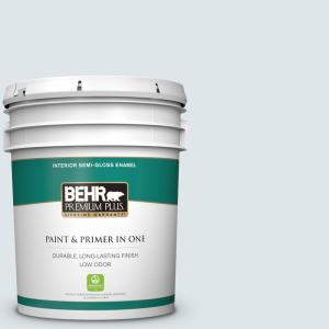 Behr Premium Plus 5 Gal Bl W03 Blue Bird Day Semi Gloss Enamel Low Odor Interior Paint And Primer In One 305005 The Home Depot