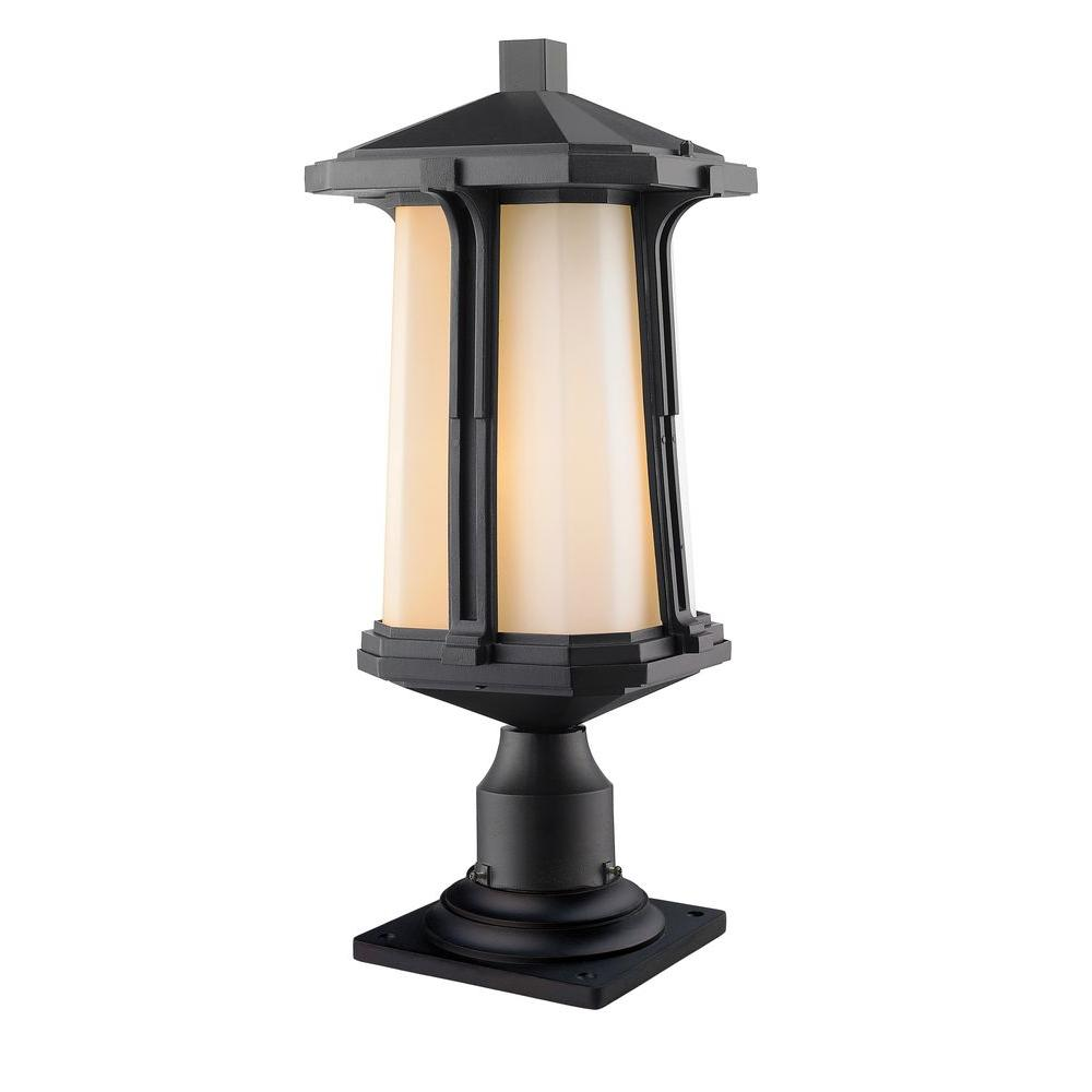 Joslin 1-Light Black Outdoor Pier Mount