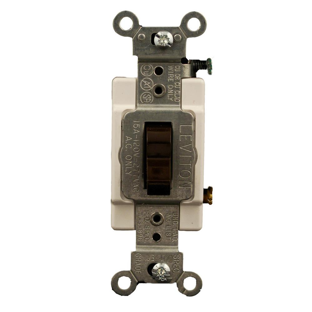 Leviton 15 Amp Commercial Grade Single Pole Back Wired Toggle Switch Three Way Home Depot 3 Brown