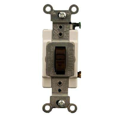 15 Amp Commercial Grade 3-Way Toggle Switch, Brown