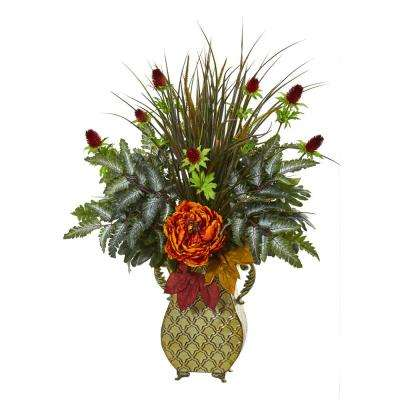 33 in. Peony Mixed Greens and Thistle Artificial Arrangement