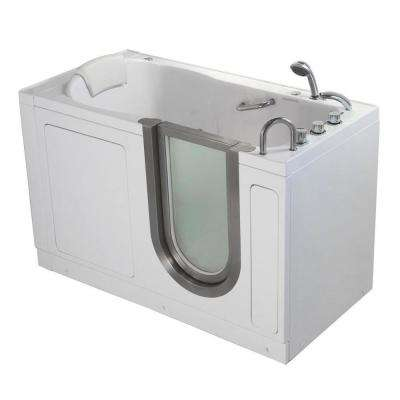 Deluxe 55 in. Acrylic Walk-In Whirlpool Bathtub in White with Thermostatic Faucet Set, Right 2 in. Dual Drain