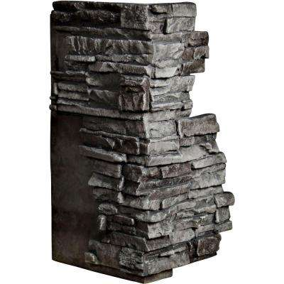 1-1/2 in. x 13-3/4 in. x 25 in. Slate Urethane Stacked Stone Outer Corner Wall Panel