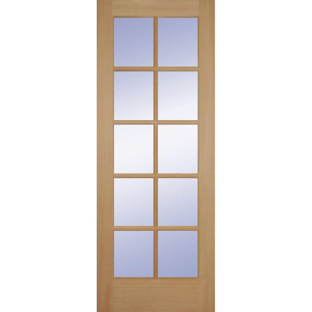 Builder's Choice 24 in. x 80 in. 24 in. Clear Pine Wood 10-Lite French Interior Door Slab