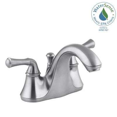 Forte 4 in. Centerset 2-Handle Low-Arc Water-Saving Bathroom Faucet in Brushed Chrome with Traditional Lever Handles