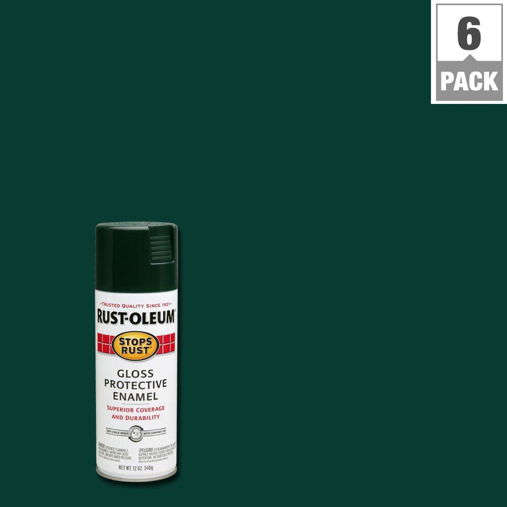12 oz. Protective Enamel Gloss Dark Hunter Green Spray Paint (6-Pack)